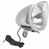 Lampa rowerowa przednia retro dynamo srebrna