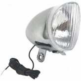 Lampa przód PLM101A Retro;Żarówka;n/Dynamo;SREBRNA
