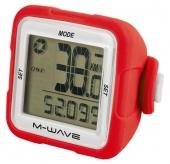 Licznik rowerowy M-Wave bezprzewodowy silikon czerwony