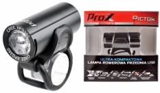 Lampka rowerowa przednia Prox Pictor czarna USB