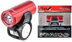 Lampka rowerowa przednia Prox Pictor czerwona USB