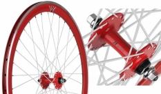 Koło 700 fix bike przód j13 stożek czerwone białe szprychy