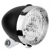 """Lampa przód """"old style"""" plastik czarny 3 led"""