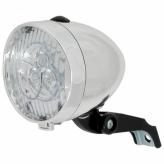 Lampka rowerowa przednia retro baterie srebrna