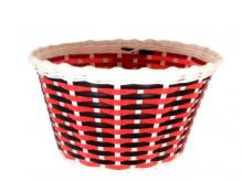 Koszyk rowerowy przedni plastik czerwony - czarny