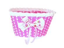 Koszyk rowerowy przedni plastik róż z kokardą