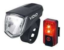Zestaw lampek rowerowych VDO  M60 FL + RED Plus RL USB