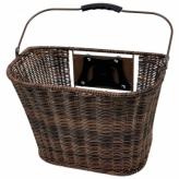 Koszyk rowerowy przedni HT-185 PVC Clip brązowy
