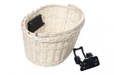 Koszyk rowerowy przedni wiklina biały klik