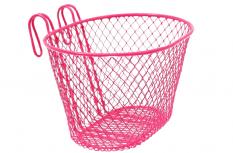 Koszyk rowerowy dziecięcy przedni różowy haki
