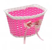 Koszyk rowerowy dziecięcy PVC różowy kokarda