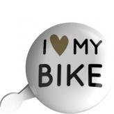 Dzwonek rowerowy Ding Dong URBAN PROOF 80mm I Love My Bike Biały