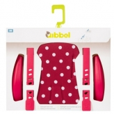 Zestaw do stylizacji przedniego fotelika rowerowego Qibbel czerwony w białe kropki