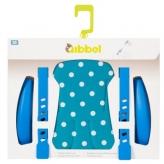 Zestaw do stylizacji przedniego fotelika rowerowego Qibbel niebieski w białe kropki