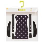 Zestaw do stylizacji tylnego fotelika rowerowego Qibbel czarny w białe kropki