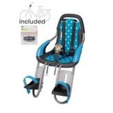 Fotelik dziecięcy Qibbel na rower przód niebieski białe kropki