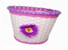 Koszyk rowerowy przedni plastik z kwiatem fioletowym