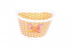 Koszyk rowerowy przedni plastik żółto-różowy z motylem