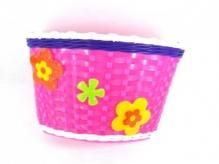 Koszyk rowerowy przedni plastikowy różowy+kwiatki
