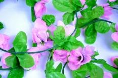 Kwiaty na kierownicę girlanda różowa