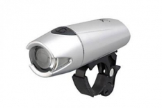 Lampka rowerowa przednia LED baterie srebrna