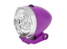 Lampka rowerowa przednia 3 LED Retro fioletowa