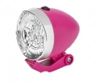 Lampka rowerowa przednia 3 LED Retro różowa