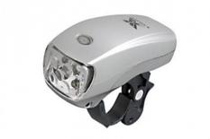 Lampka rowerowa przednia 5 LED baterie srebrna