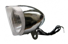 Lampka rowerowa przednia chrom retro na dynamo