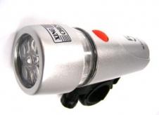 Lampka rowerowa przednia 5 led XC-735 srebrna