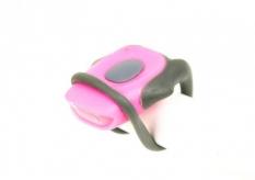 Lampka rowerowa przednia LED baterie różowa
