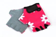 Rękawiczki rowerowe dziecięce lycra różowe w kwiatki