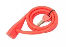 Zapięcie rowerowe  spirala silikon 10 x 1350 mm czerwony