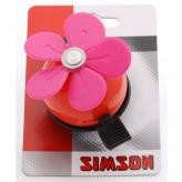 Dzwonek rowerowy dziecięcy czerwony różowy kwiat
