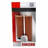 Chwyty rączki rowerowe Simson 90/120 skóra brązowe