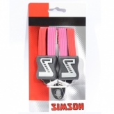 Gumy na bagażnik dziecięcy Simson 3 taśmy czerwono-różowy